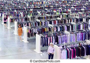grande, roupa, loja, fantoches, muitos, filas, cabides,...