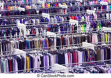 kaufmannsladen, Reihen, vielfalt, Viele,  T-Shirts, groß, Größen, Kleiderbügel, kleidung, Röcke