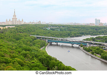 Moscow River, Luzhnetsky Bridge (Metro Bridge), Moscow State...