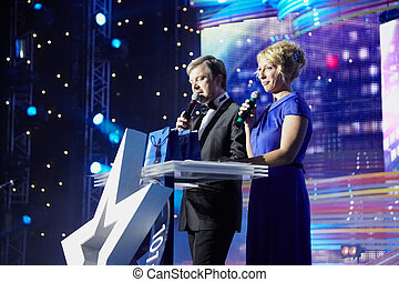 MOSCOW - FEBRUARY 2: Presenters of the presentation ceremony...