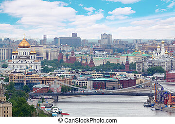 Krymsky bridge in Moscow, Russia. Bridge was opened on May...