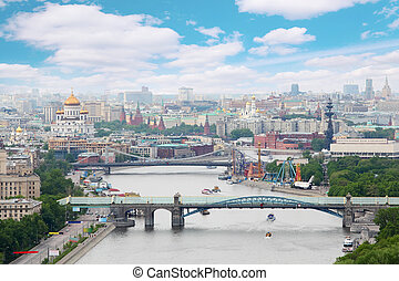 Pushkinsky and Krymsky bridges at day in Moscow, Russia....