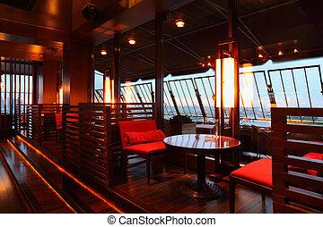 fila, Marrom, tabelas, vermelho, assentos, partition-walls,...