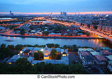 Beautiful pink sunset, panorama of Moscow, Moscow river,...