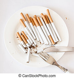 Smoking issues - Addiction to smoking concept illustrated as...