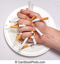 Stop smoking - Addiction to smoking concept illustrated as...