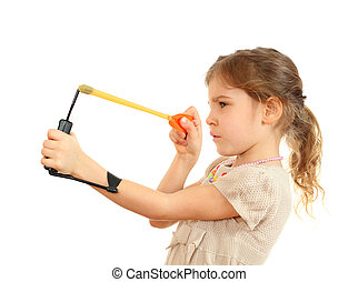 Concentrated girl with slingshot aim isolated on white...