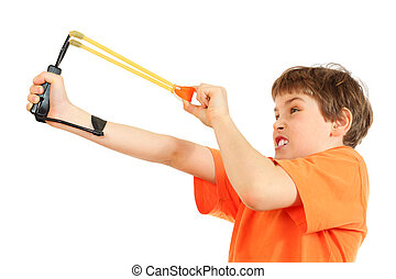 Concentrated boy with slingshot aim isolated on white...