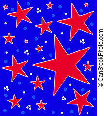 Stars Abound Watercolor Red White Blue - Bright blue...