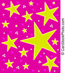 Stars Abound Watercolor on Pink - Bright pink background is...