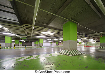 Parking garage of shopping center, underground interior...