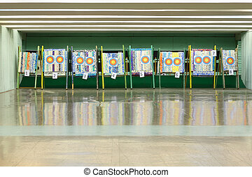 Colorful targets for archery with holes from arrows inside...