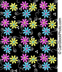 Trio of Petals With Curls - Black background is decorated...