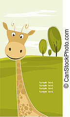 giraffe on safari background - Giraffe head on background of...