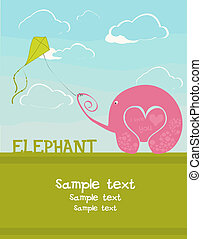 Card with an elephant lover - postcards with the love...