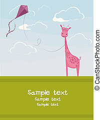 Giraffe with a kite - Postcard with the funny giraffe and...