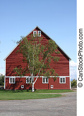 Large Red Barn with Blue Sky