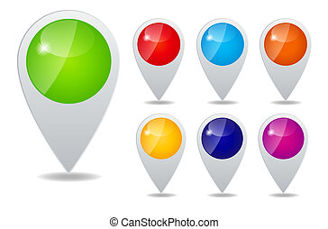 Set of round 3D map pointers vector illustration