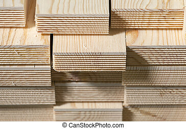 Stack of pine wood planks