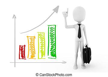 3d man success in business, concept