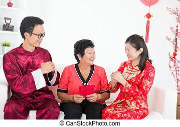 chino, nuevo, año, familia, bueno, suerte, Deseos