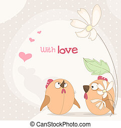 lovers of birds and flowers Vector illustration