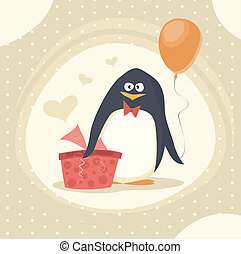 birthday card - happy birthday card with cute penguin