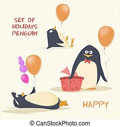 set of holidays penguin