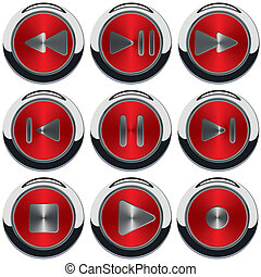 key player vector - button play pause rewind record...