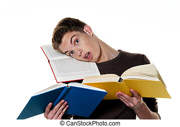 young student when learning with books