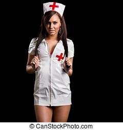 muy, Sexy, mujer, rizado, Enfermera, uniforme