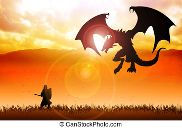 Knight and Dragon - Silhouette illustration of a knight...