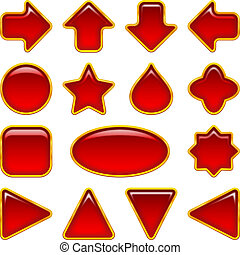Red glass buttons, set - Set of glass red buttons, computer...