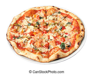 pizza vegetarian - Pizza vegetarian on a white dish isolated...
