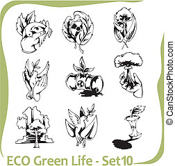Ecology - vector illustration. - ECO - vector set.