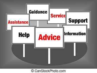 Advice support signs - Advice and support concept...