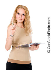Business woman with a clipboard in hand, shaking his finger