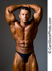 bodybuilder strong athletic man show muscle arm, sport guy...