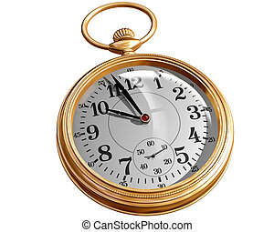 Pocket watch - Isolated illustration of a gold pocket watch