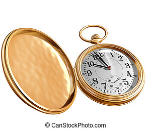 Open pocket watch - Isolated illustration of an open gold...