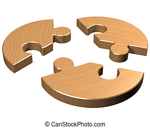 Round jigsaw - Isolated illustration of a round jigsaw with...