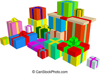 Present set - A bunch of presents isolated on white