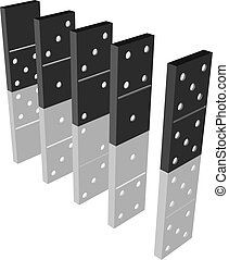 Domino effect - 3d model of domino line with reflection