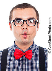 Funny nerd face - Close up of crazy nerd man making funny...