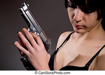 primer plano, retrato, Sexy, mujer, arma de fuego