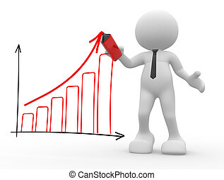 Graph chart - 3d people - man, person with a marker and...