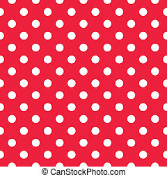 Red seamless polka dot background - Retro red vector pattern...
