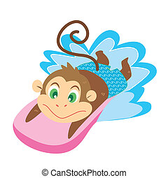 a monkey's beach activities - a cute monkey swims with a...