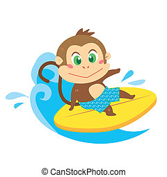 a monkey's beach activities - a cute monkey rides on a...
