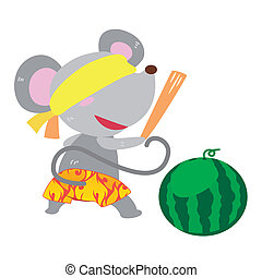 a mouses beach activities - a cute mouse is playing a beach...